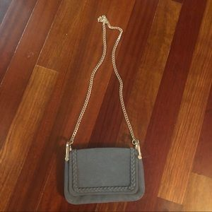 H&M Gray Suede Cross Body Purse with Gold Chain